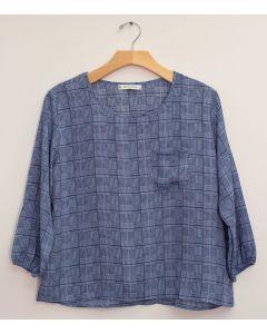 Plus 3/4 Sleeve Button Back Blouse - Navy Plaid
