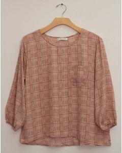Plus 3/4 Sleeve Button Back Blouse - Clay Plaid