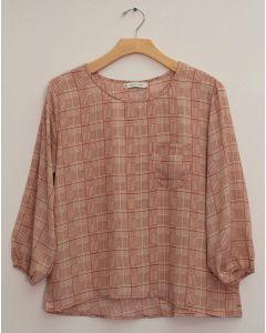 Plus 3/4 Sleeve Button Back Blouse - Clay Plaid