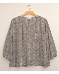Plus 3/4 Sleeve Button Back Blouse - White Plaid