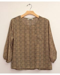 Plus 3/4 Sleeve Button Back Blouse - Khaki Plaid