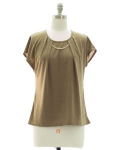 Short Sleeve Chain Yoke Top - Taupe