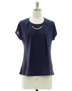 Short Sleeve Chain Yoke Top - Blue
