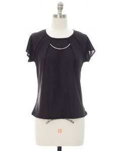 Short Sleeve Chain Yoke Top - Black