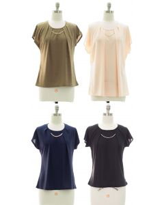 Short Sleeve Chain Yoke Top - Assorted