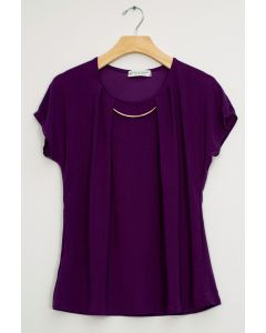 Bar Neck Cap Sleeve Top - Eggplant
