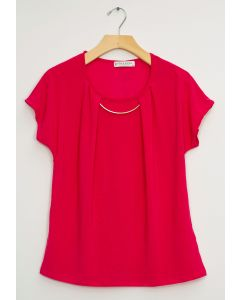Bar Neck Cap Sleeve Top - Hot Pink