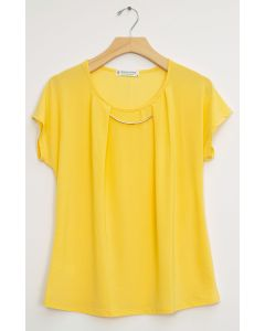 Bar Neck Cap Sleeve Top - Yellow