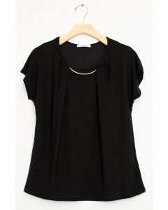 Bar Neck Cap Sleeve Top - Black
