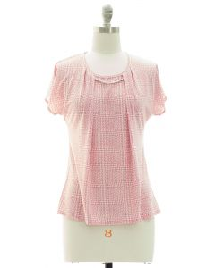 Short Sleeve Bar Yoke Top - Pink