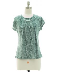 Short Sleeve Bar Yoke Top - Green