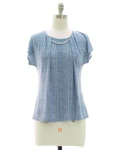 Short Sleeve Bar Yoke Top - Blue