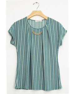 Stripe Chain Necklace Cap Sleeve Top - Teal