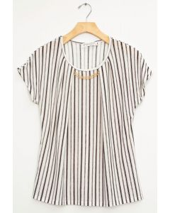 Stripe Chain Necklace Cap Sleeve Top - White