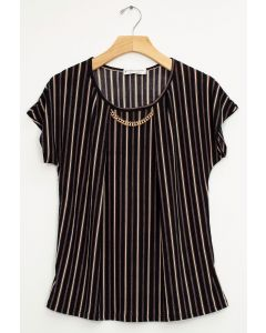 Stripe Chain Necklace Cap Sleeve Top - Black