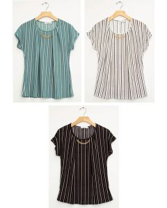 Stripe Chain Necklace Cap Sleeve Top - Assorted
