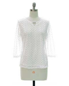Engineered Lace Shell Blouse - White