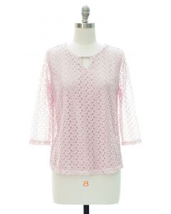 Engineered Lace Shell Blouse - Pale Pink