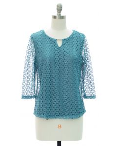 Engineered Lace Shell Blouse - Turquoise