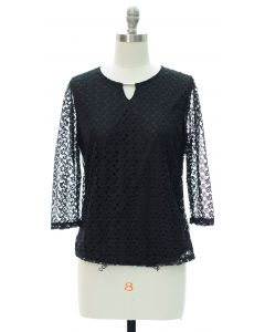 Engineered Lace Shell Blouse - Black