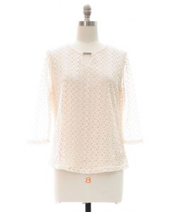 Plus All Over Engineered Lace with Bar Yoke - Cream