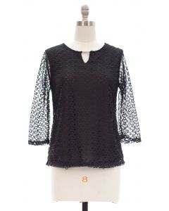 Plus All Over Engineered Lace with Bar Yoke - Black