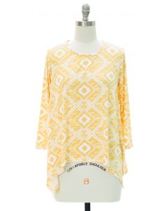 Aztec Print Sharkbite Top - Yellow