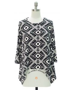 Aztec Print Sharkbite Top - Black