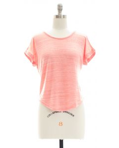 Hacci Slit Crop Top - Coral