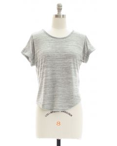 Hacci Slit Crop Top - Grey
