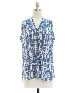 Crosshatch Pleated Top - Blue