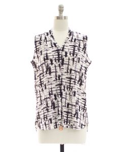 Crosshatch Pleated Top - White