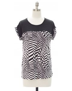 Printed Colorblock Top - Abstract