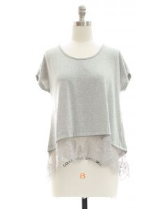 Lace Hem Knit Top - Grey