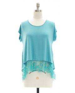 Lace Hem Knit Top - Turquoise