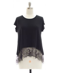 Lace Hem Knit Top - Black