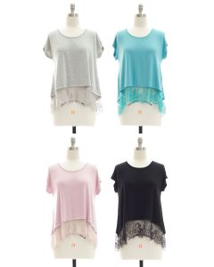 Lace Hem Knit Top - Assorted