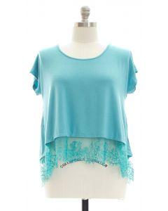 Plus Lace Hem Knit Top - Turquoise
