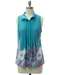 Pleat Front Button Down Top - Turquoise