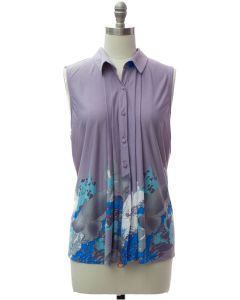 Pleat Front Button Down Top - Lilac