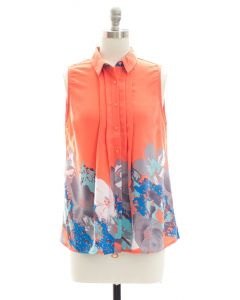 Placement Print Pleated Blouse - Coral