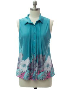 Plus Pleat Front Button Down Top - Turquoise