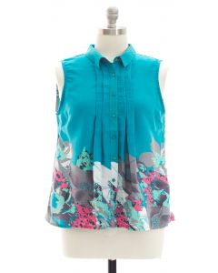 Plus Placement Print Pleated Blouse - Turquoise