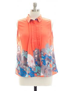 Plus Placement Print Pleated Blouse - Coral