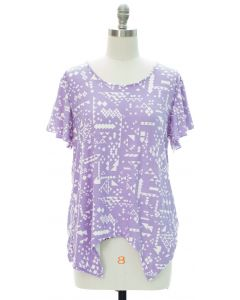 Printed Brushed Knit Top - Violet