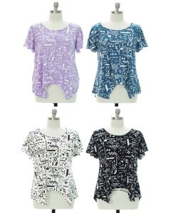 Plus Printed Brushed Knit Top - Assorted