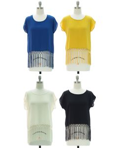 Fringe Hem Blouse - Assorted