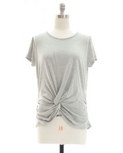 Knot Front Top - Grey