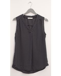 Pleat Front Polka Dot Blouse - Black