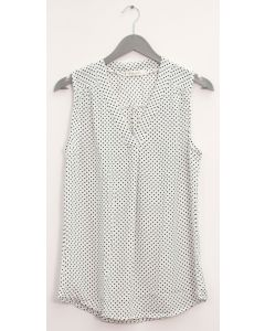 Pleat Front Polka Dot Blouse - White